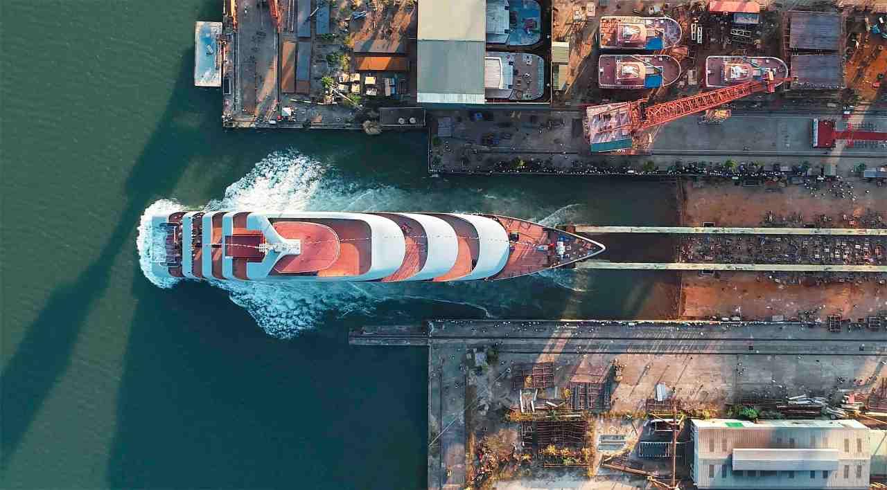 Watch ocean-going superyacht floatout