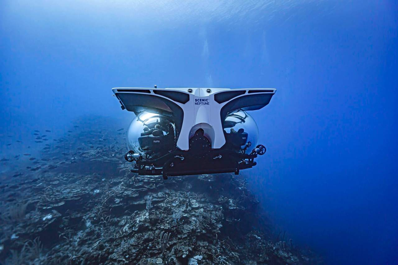Luxury cruise yacht has its own submarine forguests
